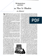 Norman Cousins, Modern Man is Obsolete, SR, Aug 1945