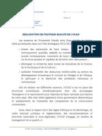 Declaration de Politique Qualite de l'Ucad