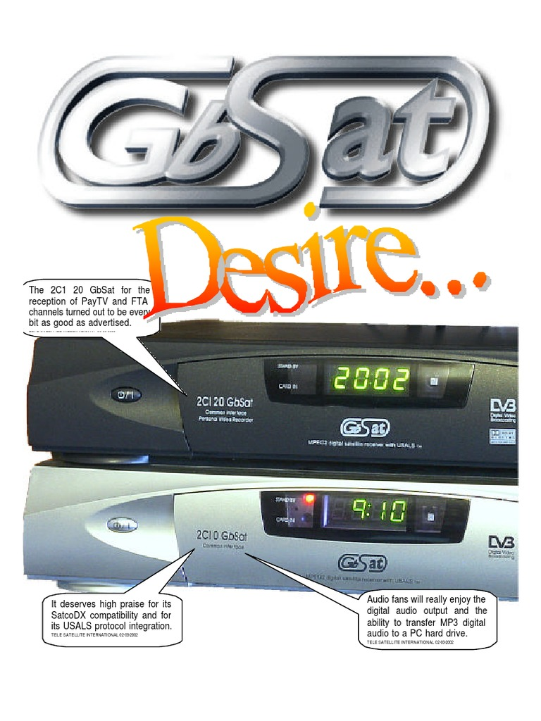 GbSat Satellite Receiver User Manual   Satellite Television   Digital Video  Recorder