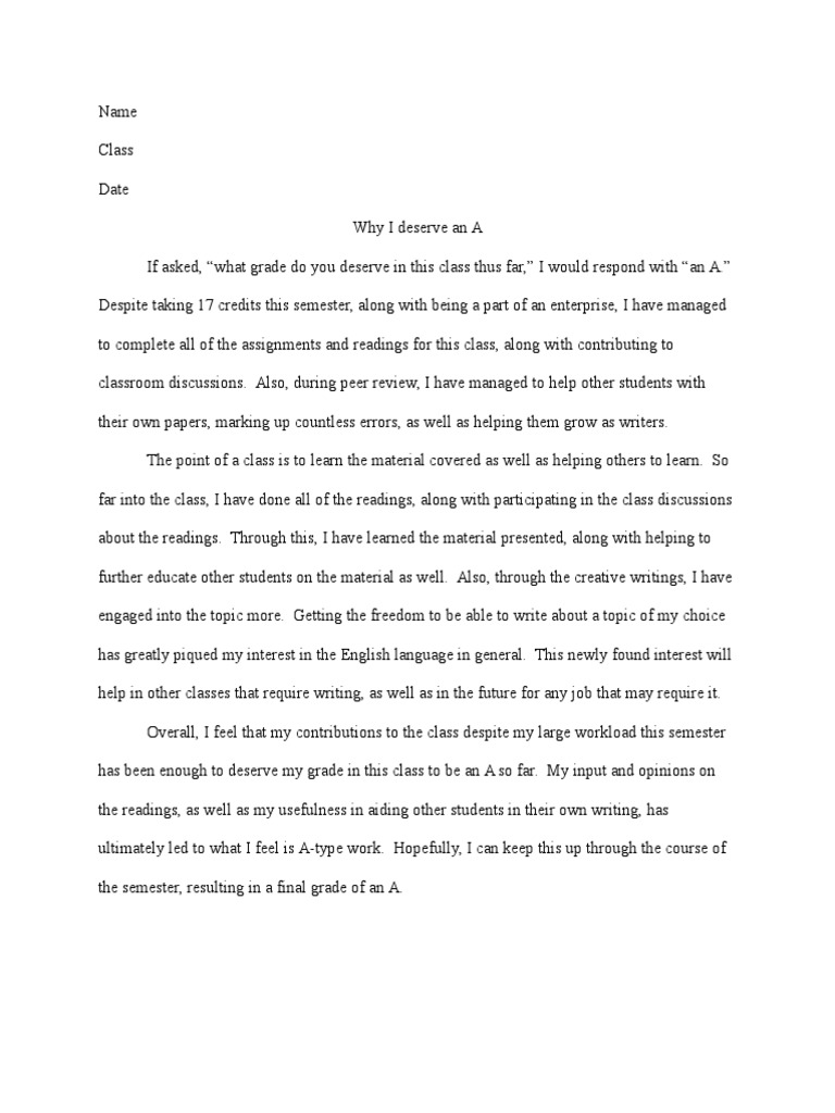 sample essay on why i deserve an a science
