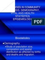 ‫tools used in community diagnosis demographyvital and health statistics epidemiology