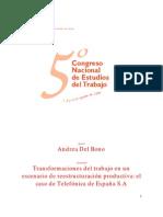 Andrea Del Bono. Transformación Del Trabajo en Un Escenario de Reestructuración Productiva