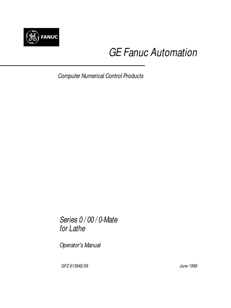87936105 Fanuc Series 0T Operator s Manual | Automation | Technology