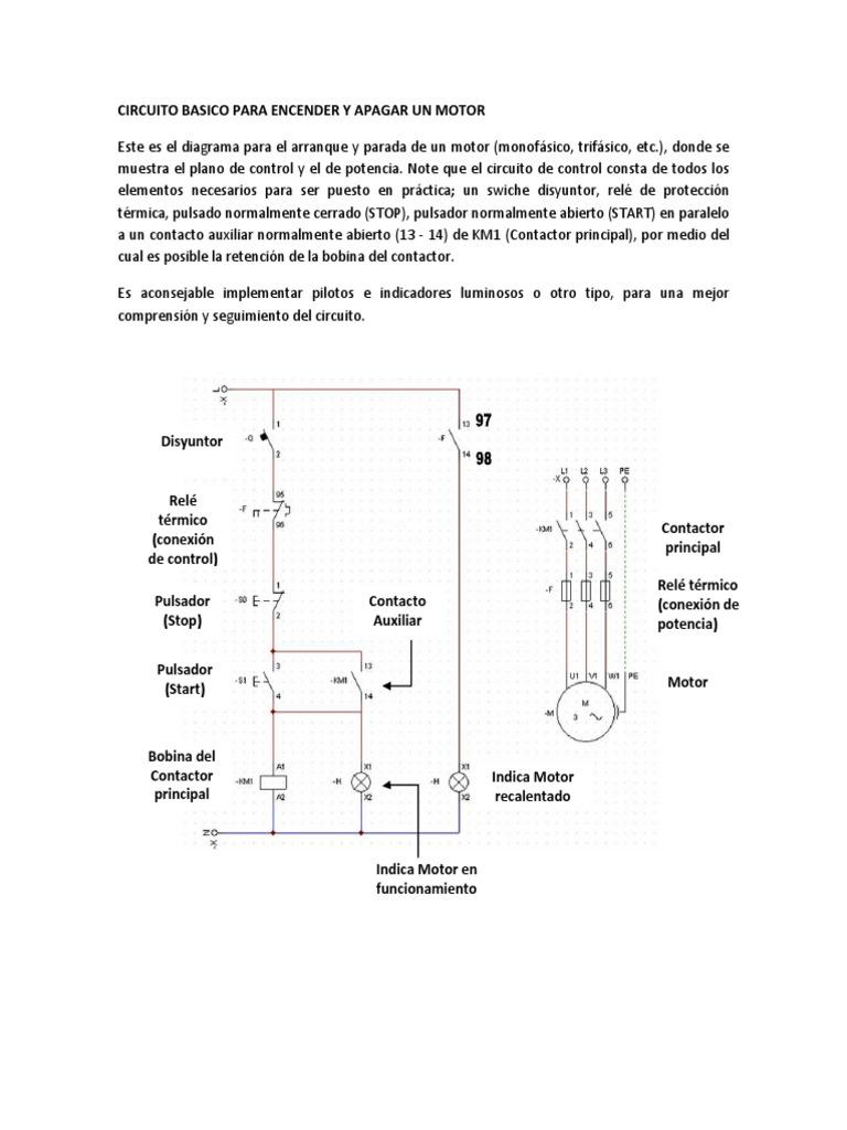 Circuito Basico : Circuito basico para encender y apagar un motor