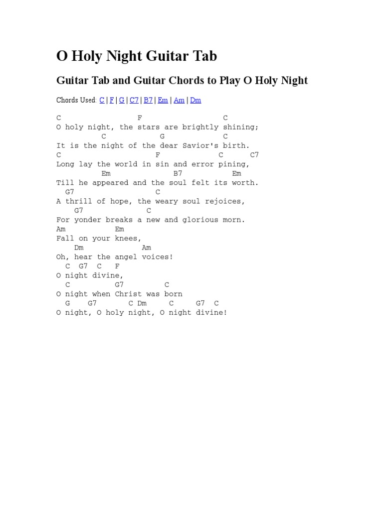 O Holy Night Guitar Tab