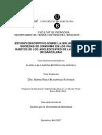 ESTUDIO DESCRIPTIVO SOBRE LA INFLUENCIA DE LA SOCIEDAD DE CONSUMO EN LOS VALORES Y HÁBITOS DE LOS ADOLESCENTES DE LA PROVINCIA DE BARCELONA