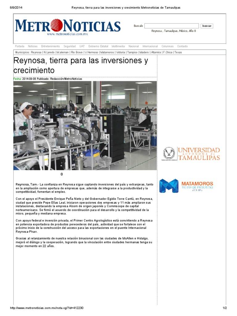 08-09-2014 'Reynosa, Tierra Para Las Inversiones y Crecimiento'