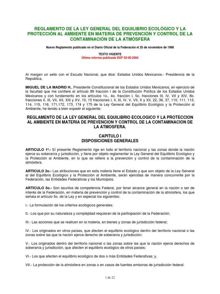 Reglamento Lgeepa Prevencion y Control de La Contaminacion de La ...