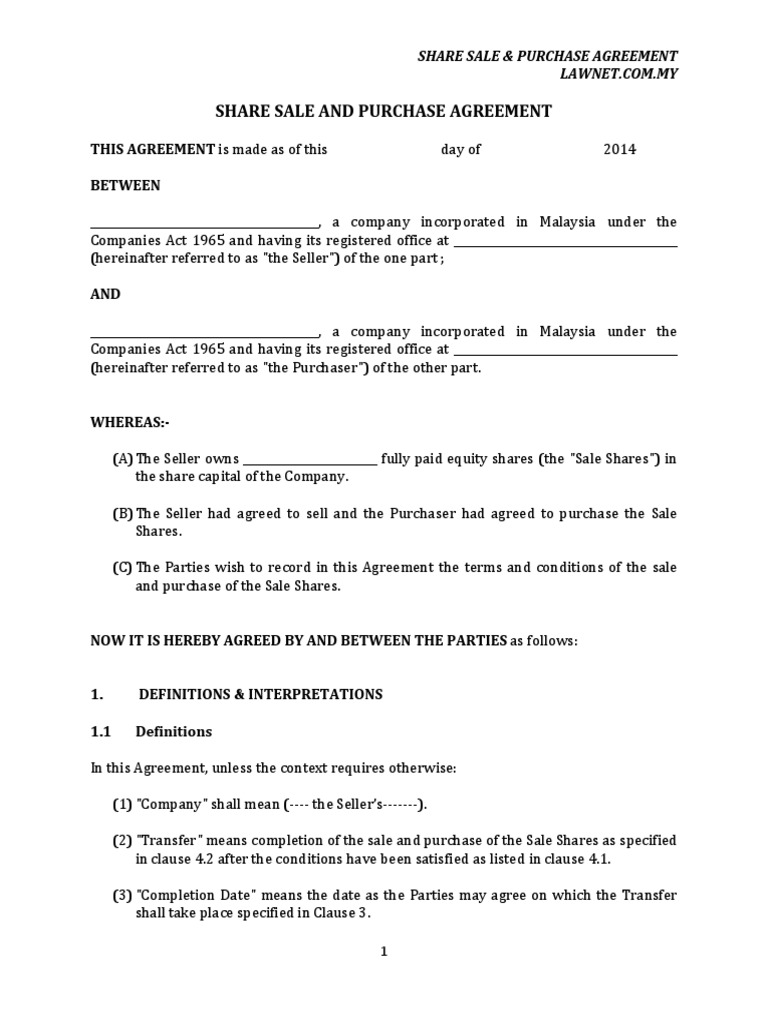 Share Sale And Purchase Agreement Sales Lien