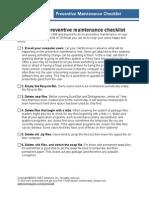 Preventive Maintain Checklist
