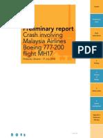 Dutch Safety Board Preliminary Report on MH17 Crash