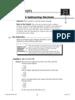 adding and subtracting decimals procedures