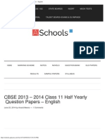 CBSE 2013 - 2014 Class 11 Half Yearly Question Papers – English