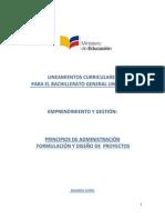 Lineamientos Curriculares Emprendimiento y Gestion Formulacion Manejo de Proyectos Principios de Administración Web Segundo Bachillerato