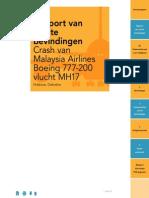 Tussentijds rapport Onderzoeksraad voor Veiligheid MH17