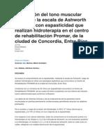 Evaluación Del Tono Muscular Mediante La Escala de Ashworth en Niños Con Espasticidad Que Realizan Hidroterapia en El Centro de Rehabilitación Promar