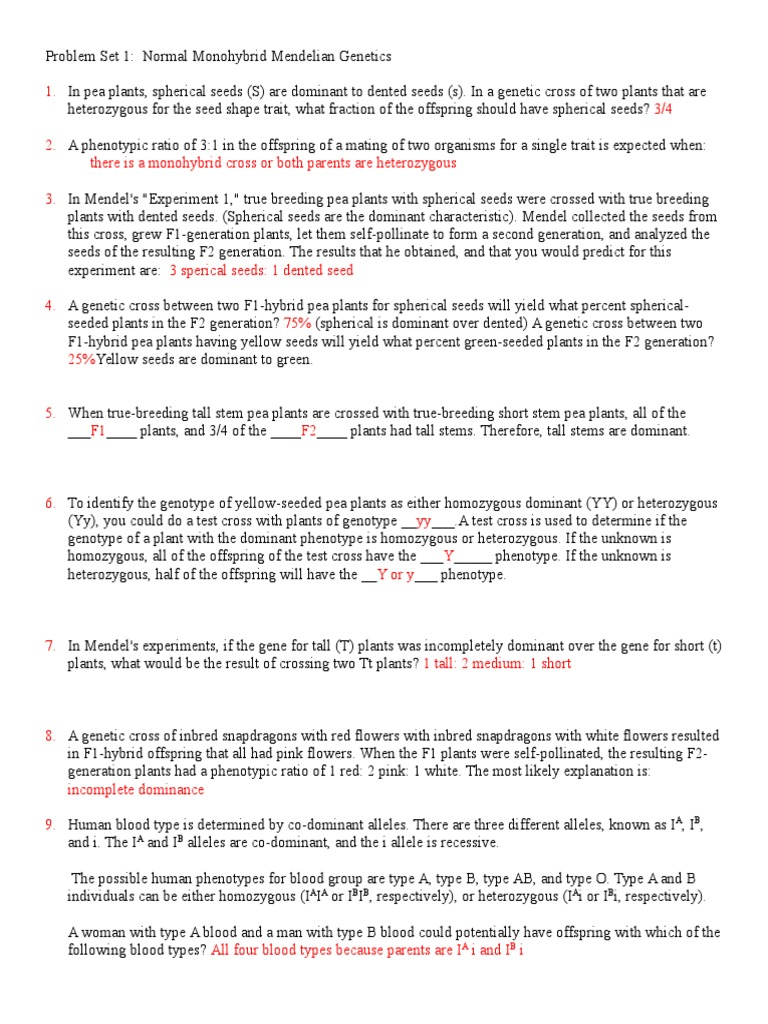 Worksheets Genetics Problems Worksheet And Answers genetics problem sets 1 and 2 answers dominance genotype