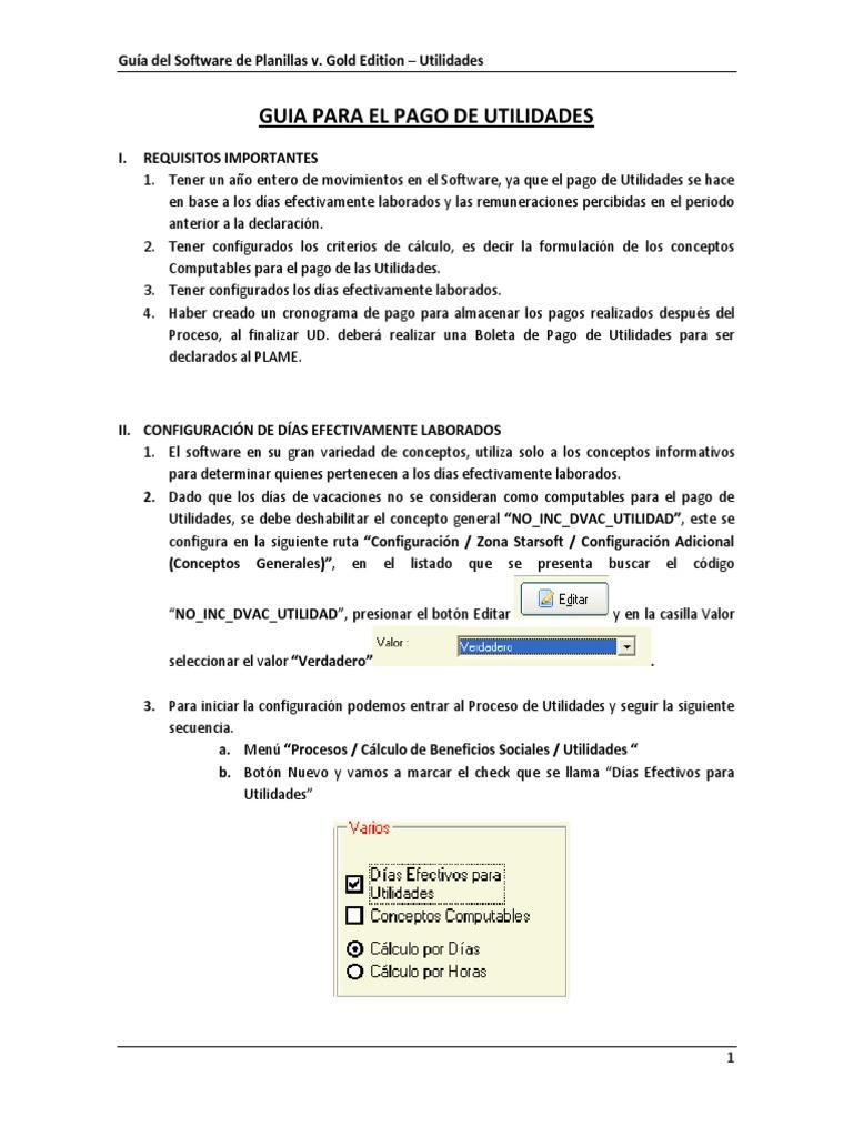 Manual Planillas Starsoft Pago Utilidades