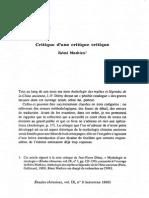 Mathieu, Rémi - Critique d'Une Critique Critique