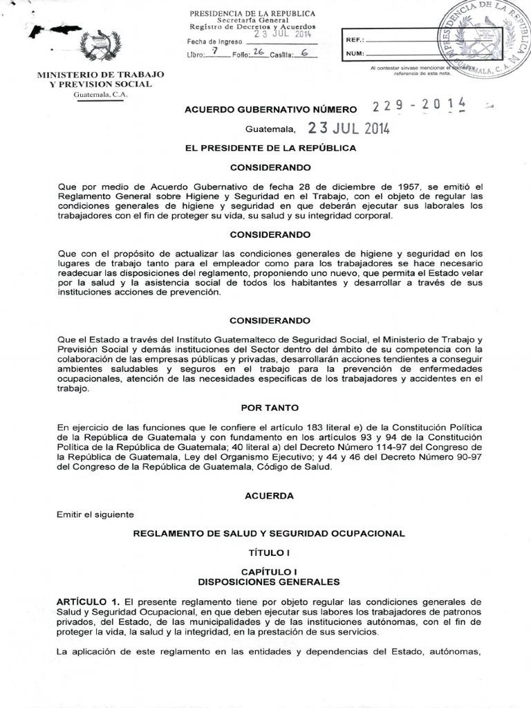 AG 229-2014 Reglamento de S&SO Guatemala