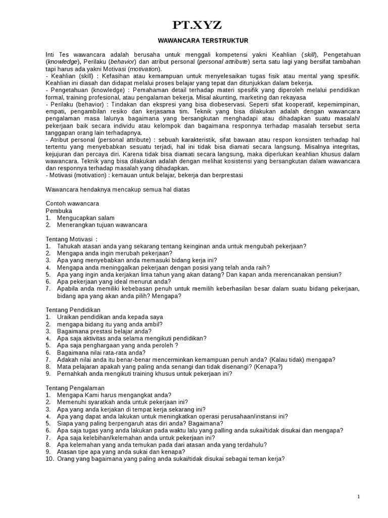 Contoh Pertanyaan Wawancara Terstruktur 1 Ina Social Psychology