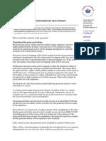 Reform of International Recruitment