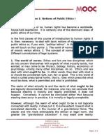 Transcript Lesson 1 Notions of Public Ethics