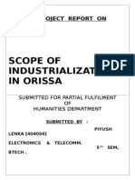 SCOPE OF INDUSTRIALIZATION IN ORISSA
