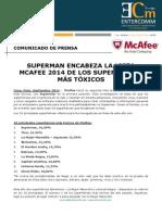 NP McAfee -Superman encabeza la lista McAfee 2014 de los superhéroes más tóxicos