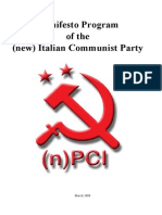 (New) Italian Communist Party - Manifesto Program of the (New) Italian Communist Party