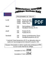 Programme AS + mois de septembre