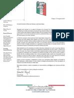 Carta redactada desde el Consulado General de México en Chicago para Vicent Rangel, presidente de la Sociedad Cívica Mexicana de Illinois