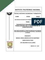 """""""Diagnóstico Ergonómico de Los Trabajadores en La Industria de La Construcción"""""""