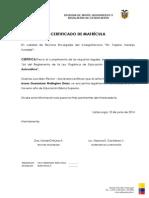 Certificación Matrícula Automática Basico