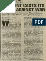 Vermont Casts Its Votes against War   Vermont Times   Jan. 10, 1991