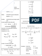 Fluid Dynamics Cheat Sheet