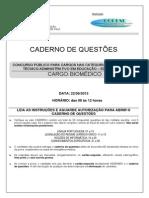 Biomedico, Prova de Concurso..