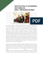 Declaración IV Congreso de Pueblos 08 2014