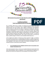 """Political Manifiesto """"For the emancipation of our bodies"""" - 13 EFLAC"""