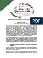 """Manifesto Político """"Pela liberação dos nossos corpos"""" - 13 EFLAC"""
