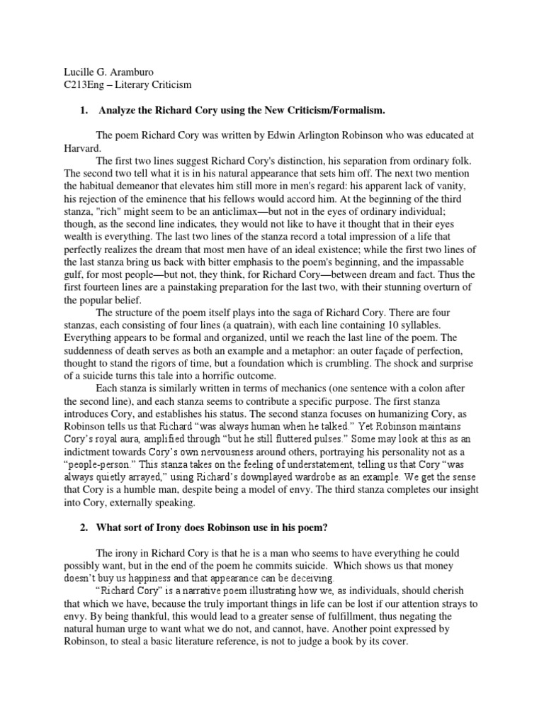 Analysis On Richard Cory Poem Using The New Criticism Or Formalism
