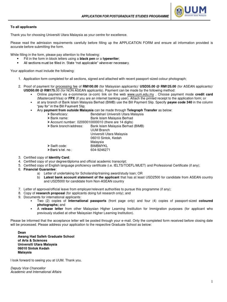 Uumcas Applicationform 2 Postgraduate Education Graduate School