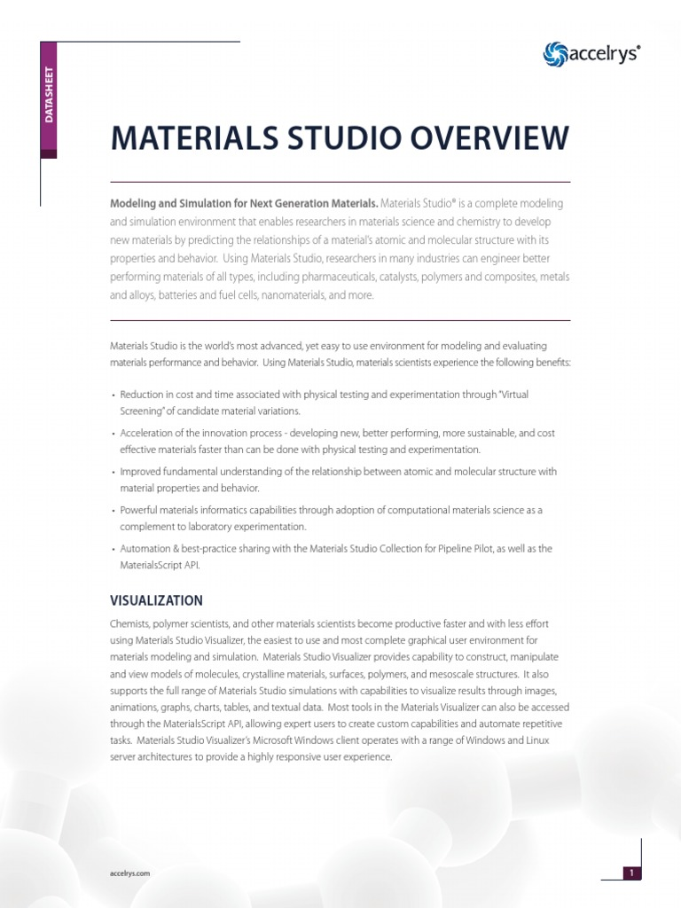 Materials Studio Overview | Quantitative Structure–Activity
