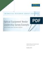 2013 Infonetics Optical Vendor Leadership Survey Excerpts 101613