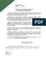 Affidavit of Tax Exemption