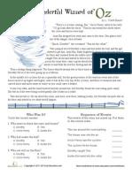 ReWorksheetading Comprehension Wizard of Oz Worksheet