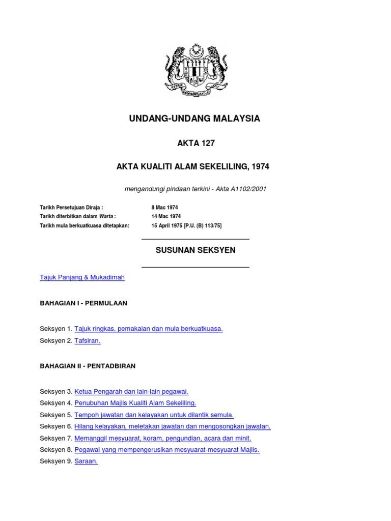 Akta Kualiti Alam Sekeliling 1974 Act 127