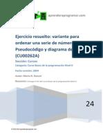 Ejercicio Resuelto Ordena Serie Numeros Pseudocodigo Diagrama Flujo