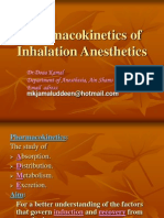 Pharmacokinetics of Inhalation Anesthetics