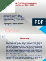 Global Fractional Horsepower Motors Market 2014-2018